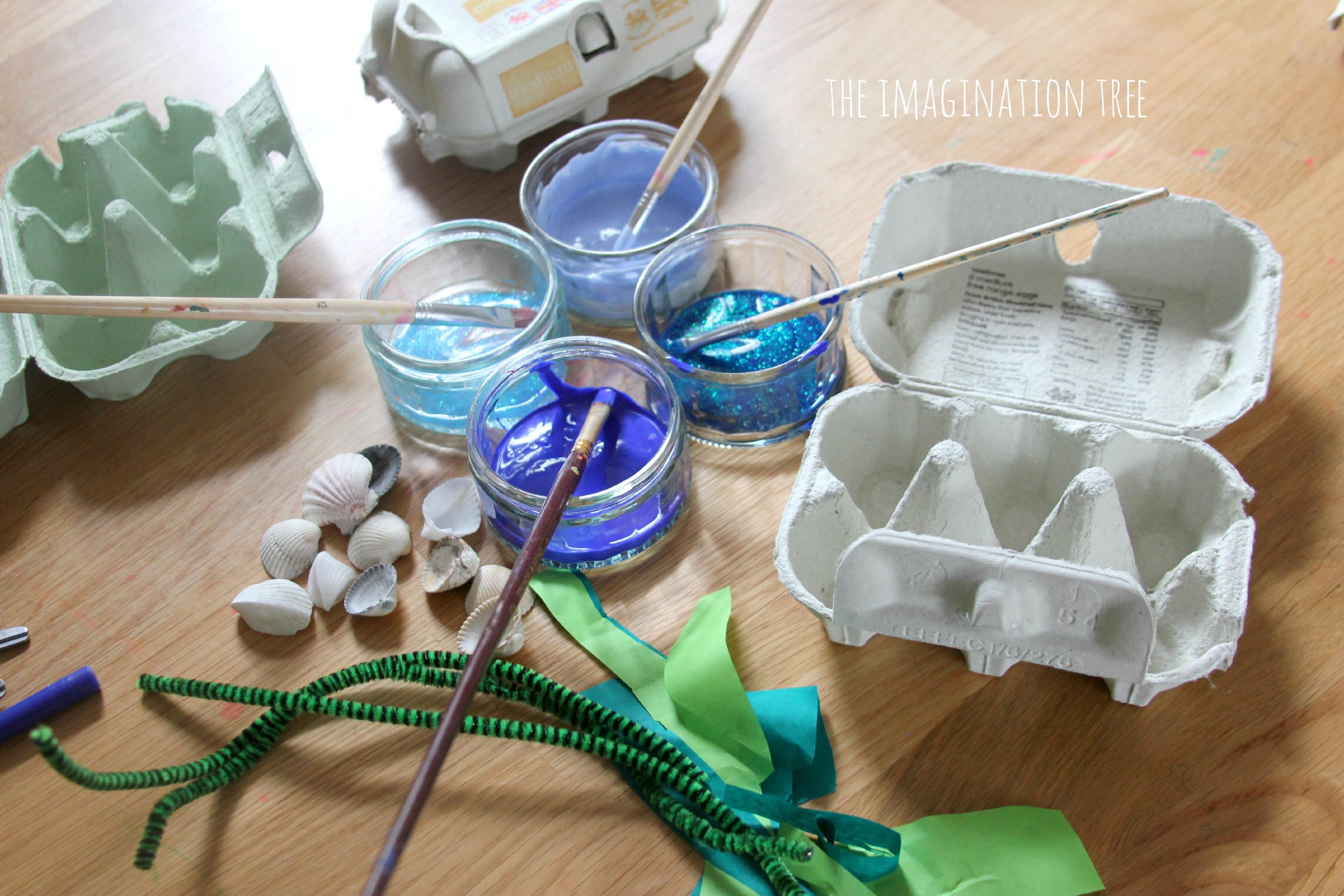 Egg carton ocean craft the imagination tree for Plastic egg carton crafts