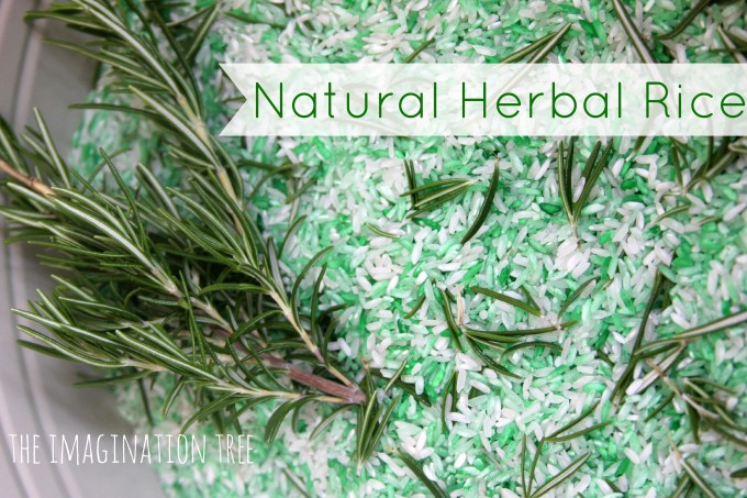 Natural herbal rice for sensory play