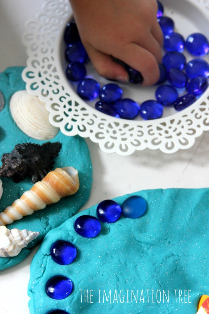 Ocean play dough with gems and shells
