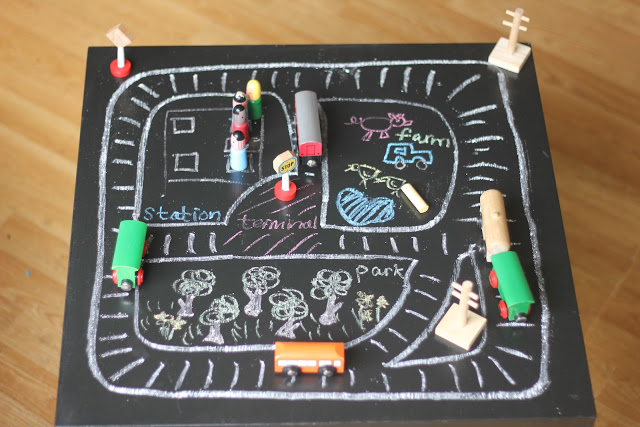 Train tracks on the chalkboard table