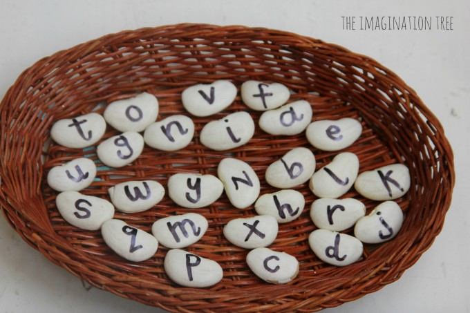 Alphabet beans for literacy play
