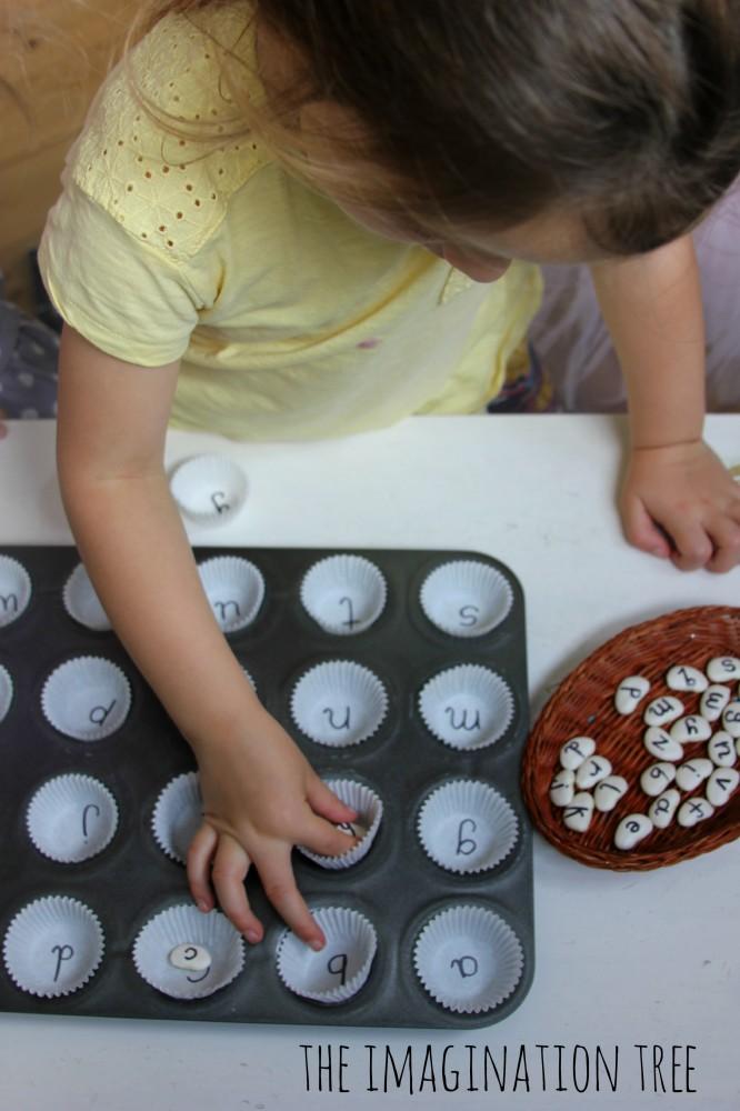 Alphabet beans matching activity