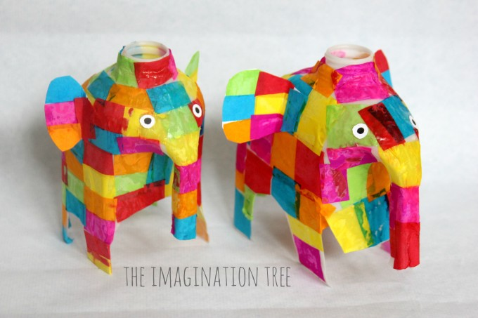 Elmer elephant milk jug craft