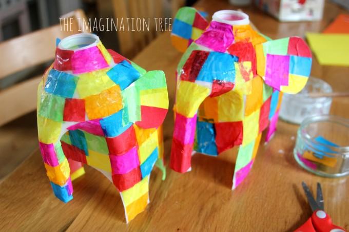Elmer elephants using milk jugs