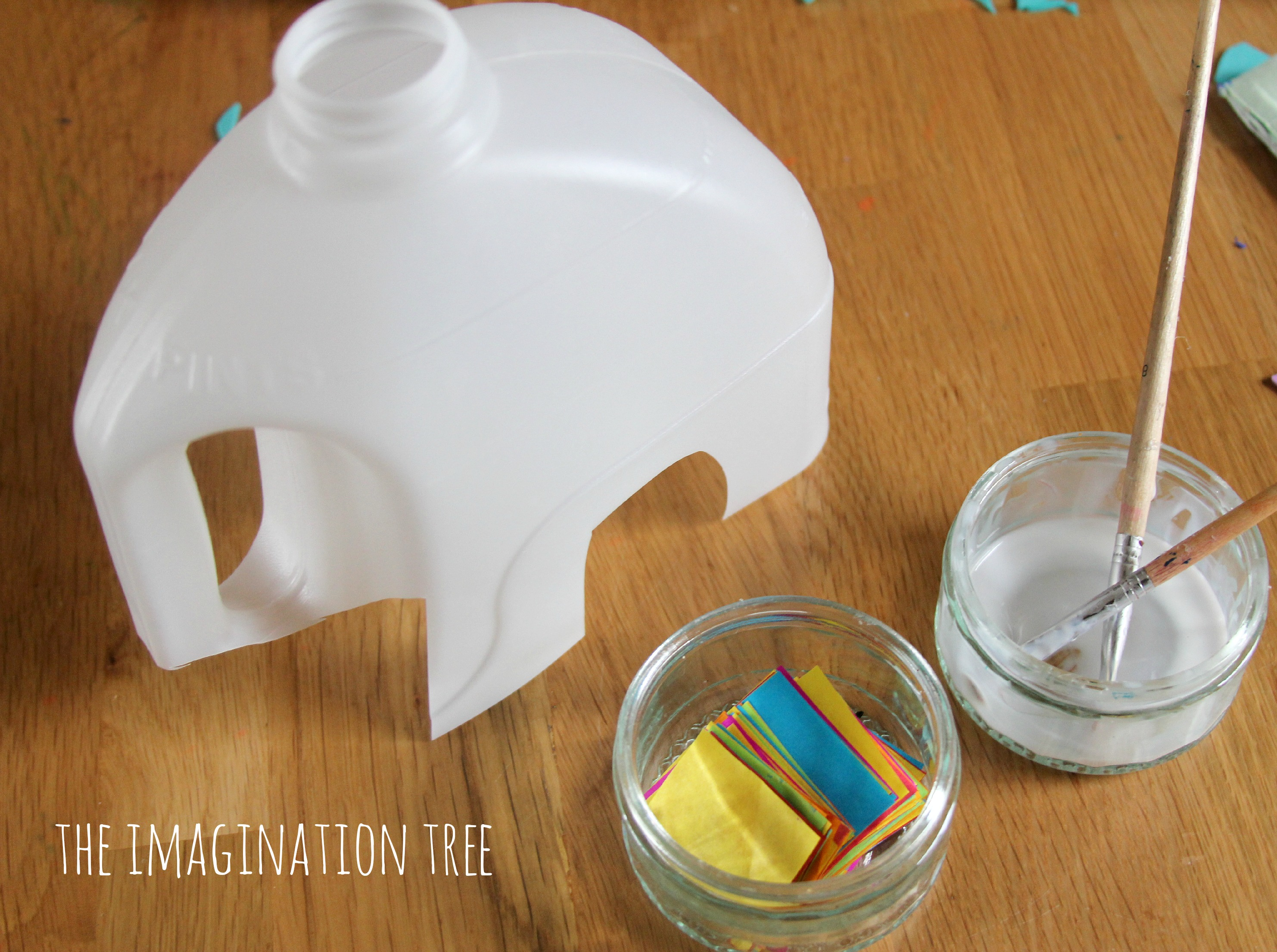 Milk jug elmer elephant craft the imagination tree for Waste material items