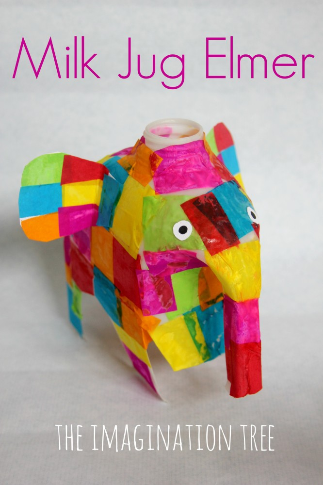 Milk jug Elmer elephant craft