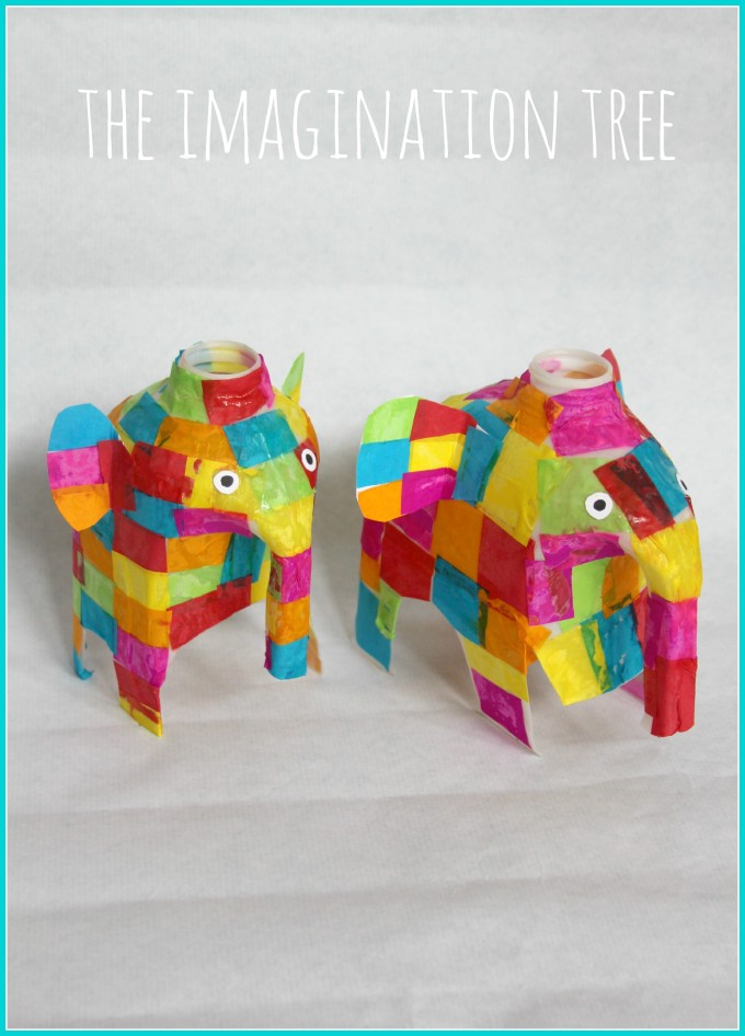 Milk jug Elmer elephant craft activity