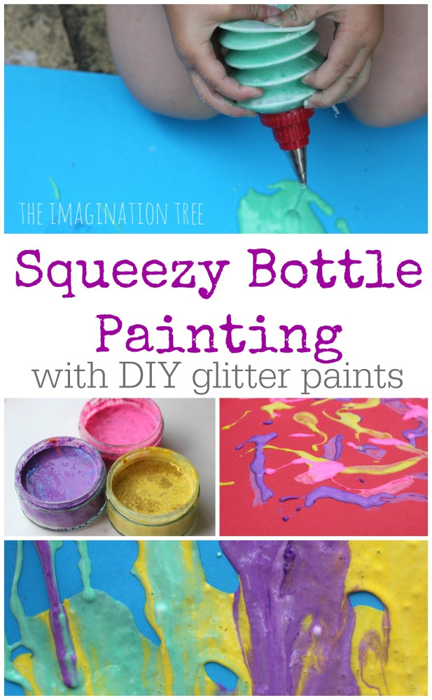 Squeezy bottle painting with DIY glitter paints