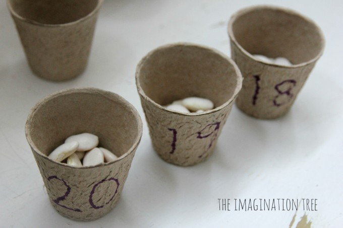 Flower pot bean counting game