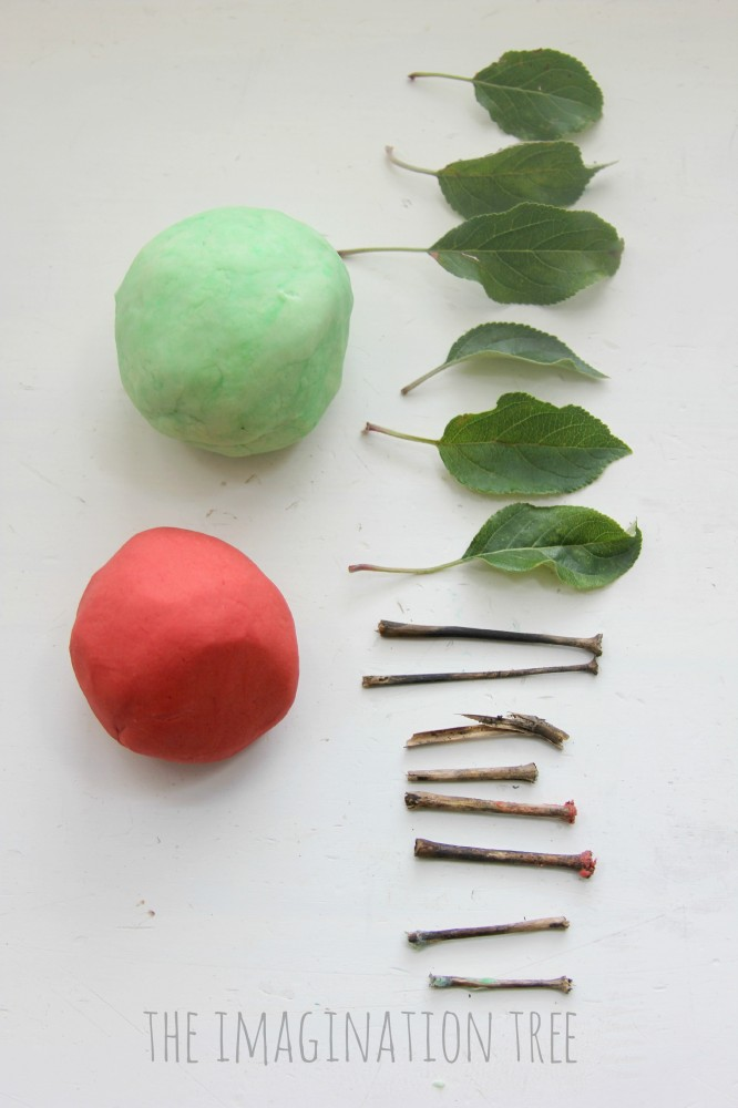 Invitation to play with apple play dough