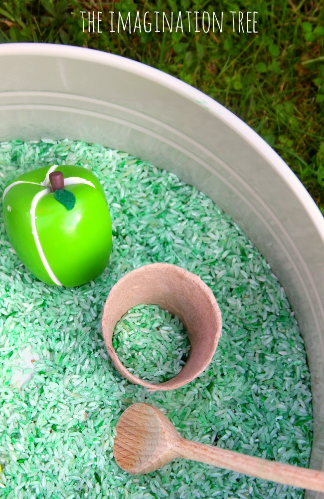 Apple cinnamon sensory rice recipe for sensory play