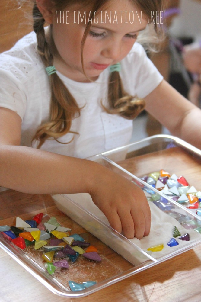 Art and maths in a salt tray with gems