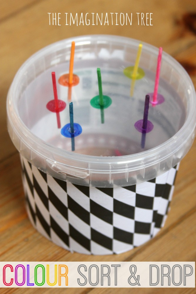 Colour sort and drop fine motor activity