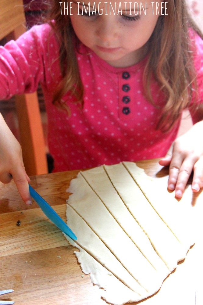 Cutting play dough pastry