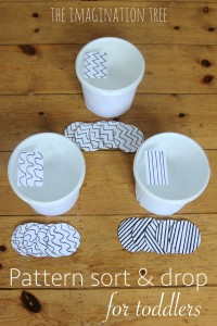 DIY pattern sort and drop fine motor game for toddlers