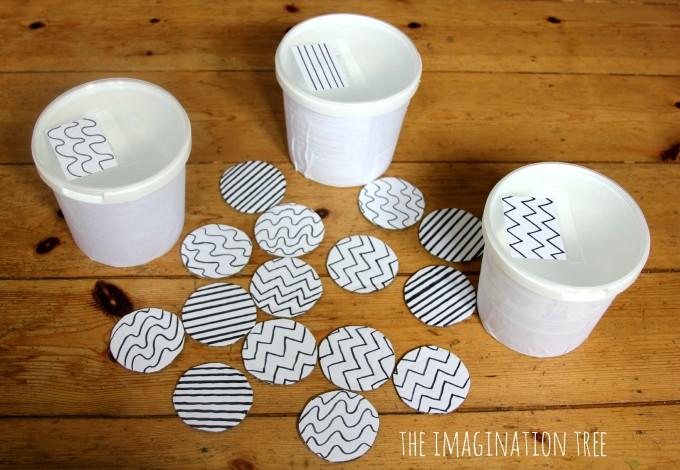 DIY pattern sorting game for toddlers