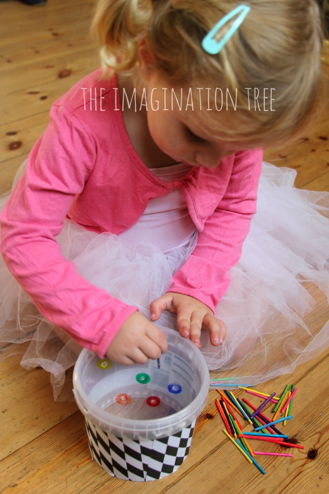 Fine motor colour sorting game with match sticks