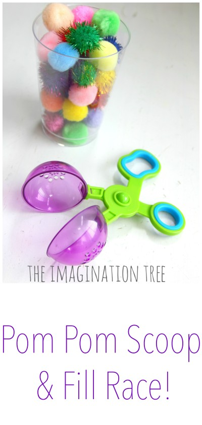 Pom pom scoop and fill race fine motor game for preschoolers
