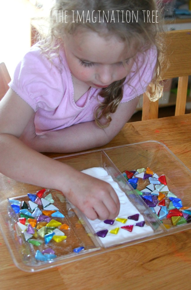 Salt tray and gems maths activity