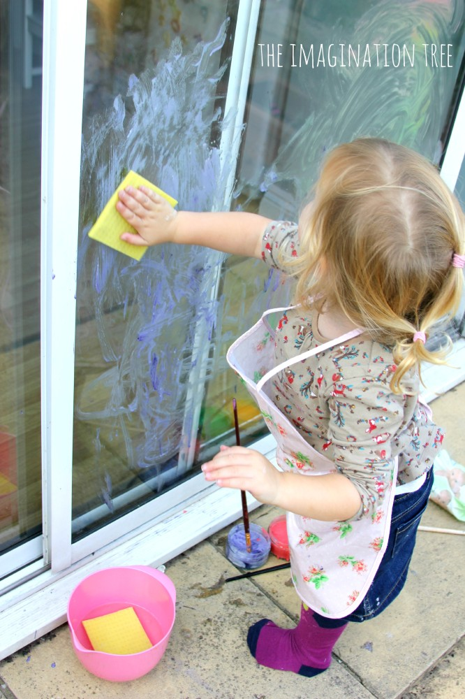 Washing windows toddler activity