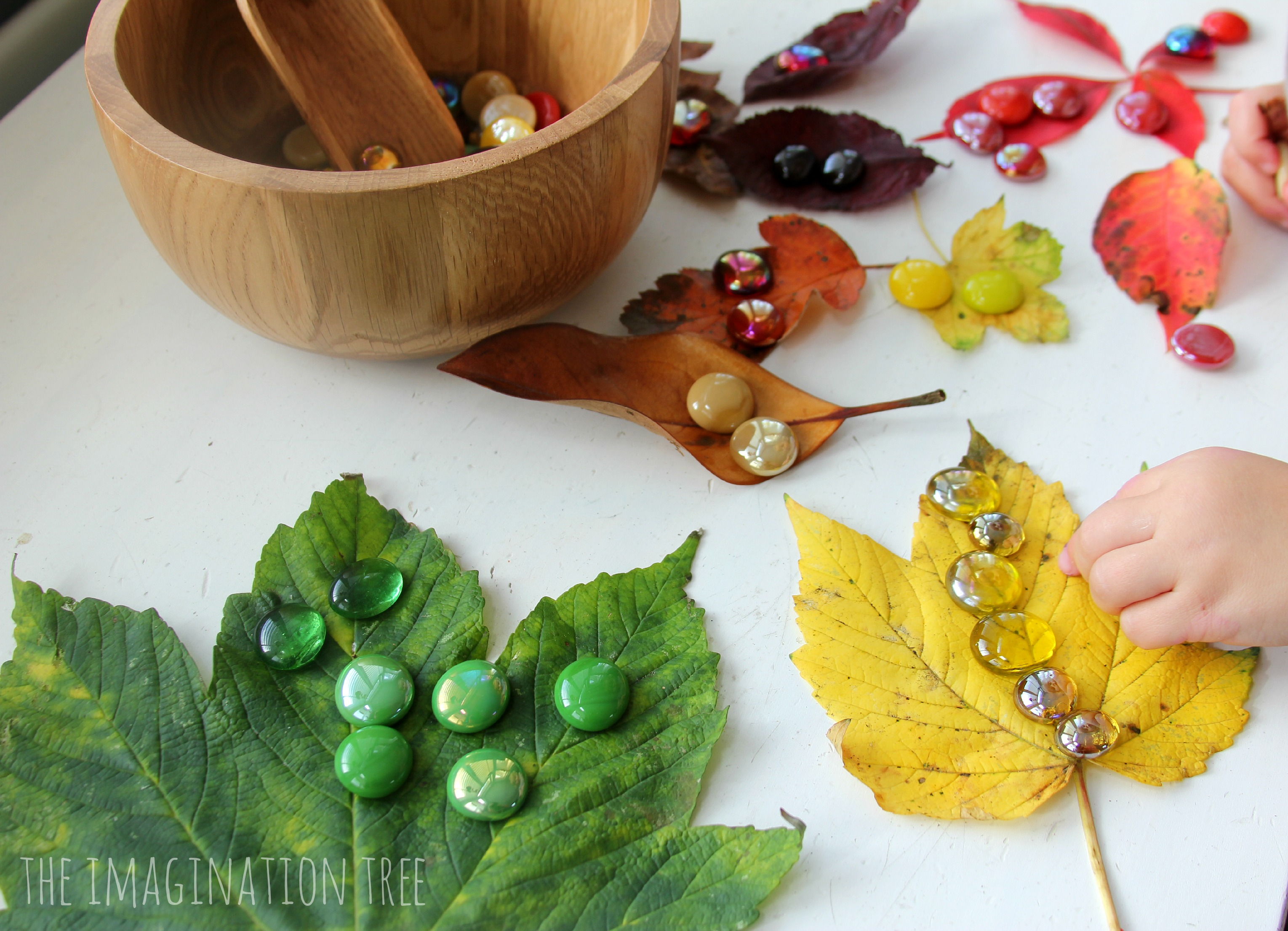 Autumn Leaves and Gems Colour Sorting Activity - The Imagination Tree