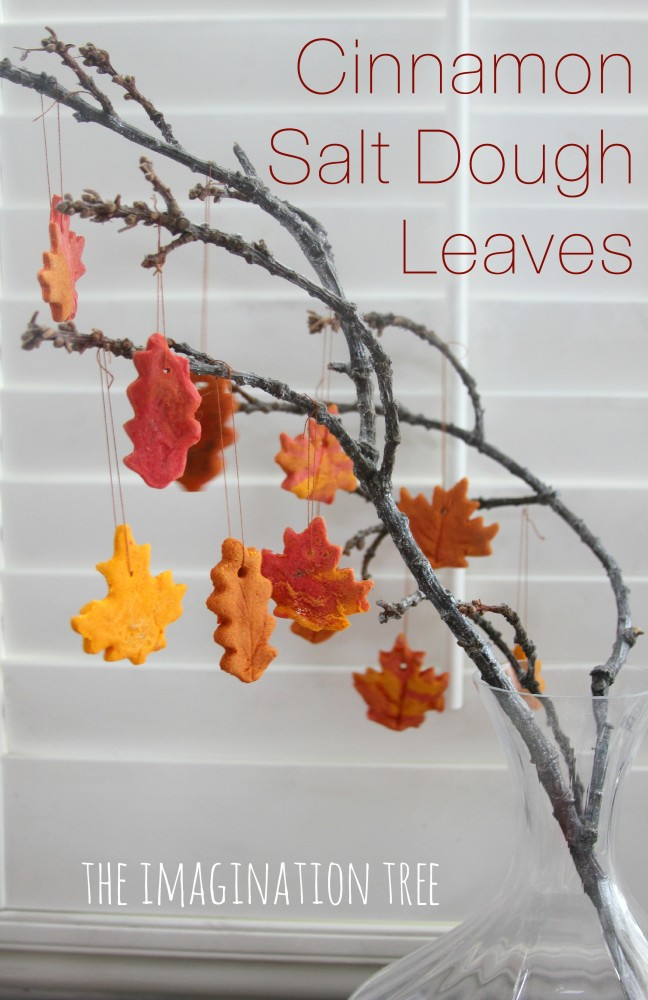 Cinnamon salt dough autumn leaves