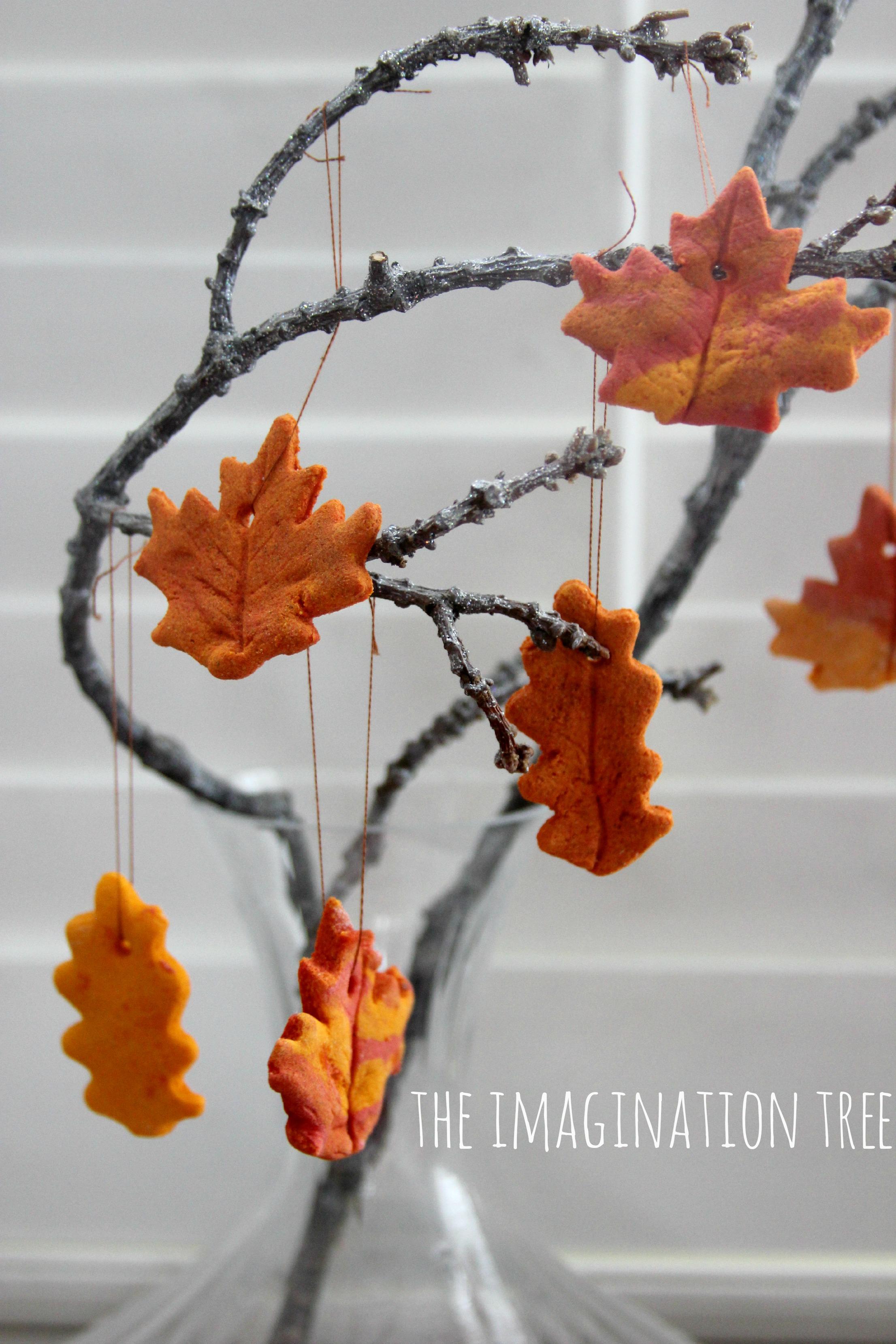 Cinnamon salt dough leaf ornaments the imagination tree for Salt dough crafts figures