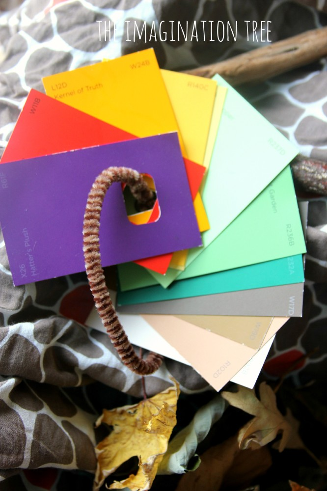 Colour paint chip cards to match to leaves