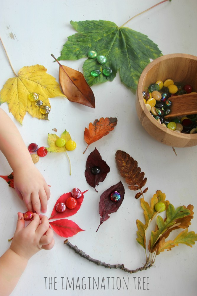 Colour sorting and matching with autumn leaves and glass gems