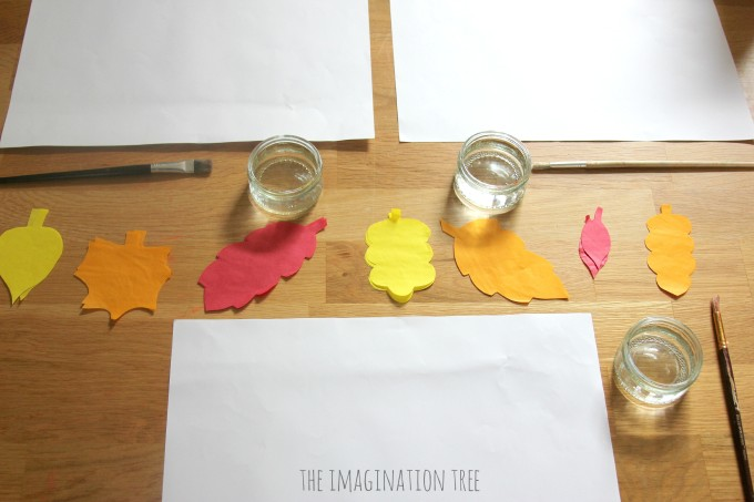 Invitation to create with tissue paper leaves