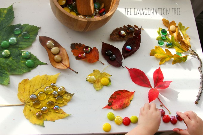 Matching gems and leaves activity