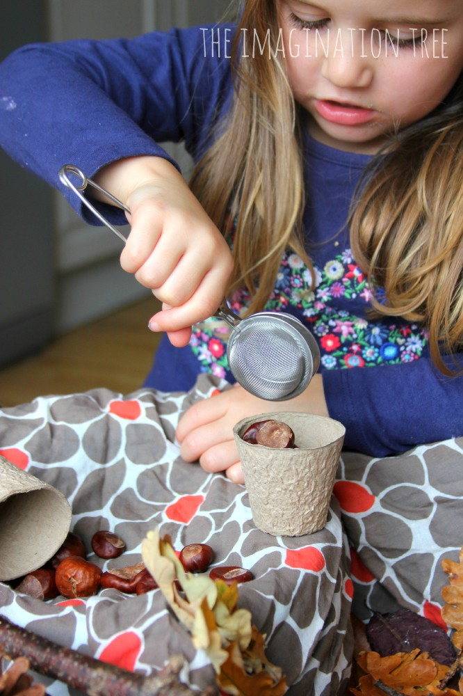 Moving and counting Autumn treasures in the sensory table