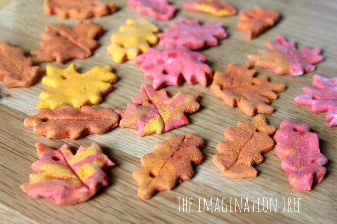 Autumn Spice Salt Dough recipe to match the colours of some leaves ...