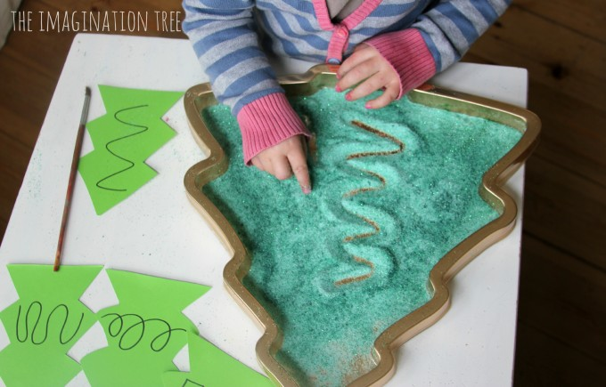 Christmas tree mark-making tray literacy activity