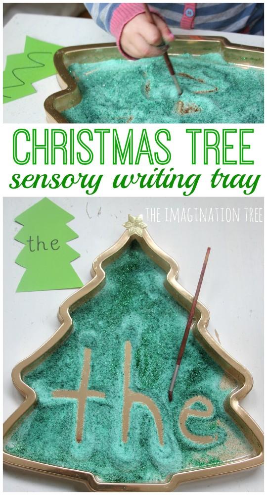 Christmas Tree Sensory Writing Tray