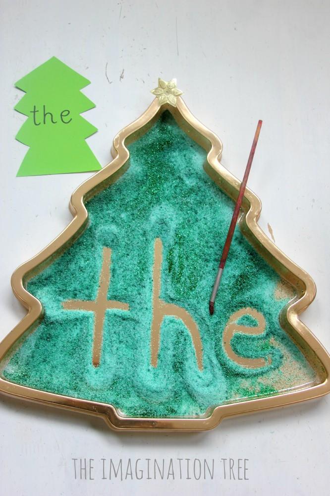 Christmas tree sight word writing tray