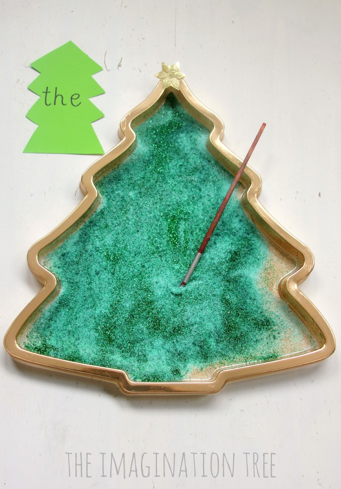 Christmas tree writing and mark-making tray