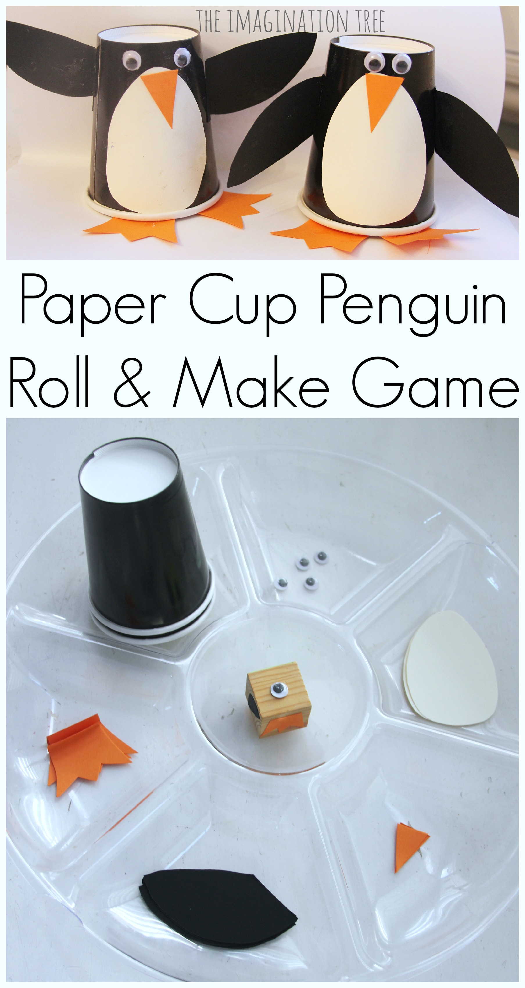 paper cup penguin craft roll and make game - the imagination tree