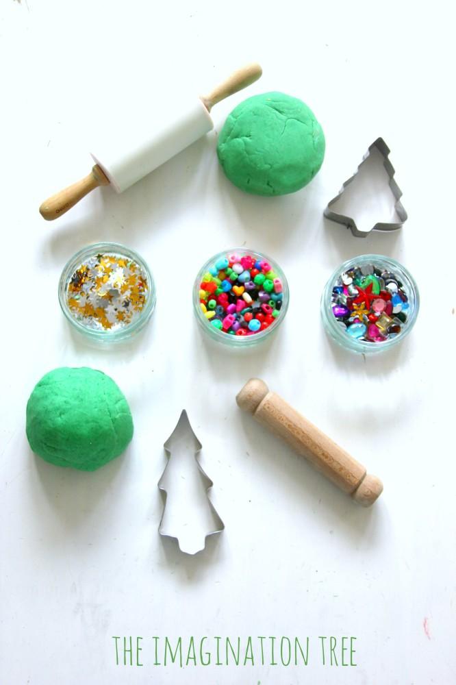Play dough christmas tree decoration station