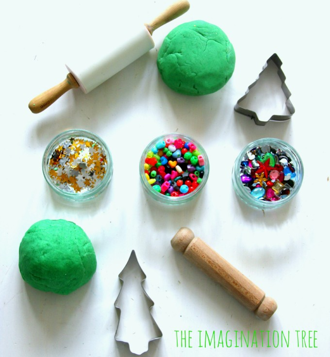 Play-dough-christmas-tree-decoration-station-christmas-craft-activity for kids
