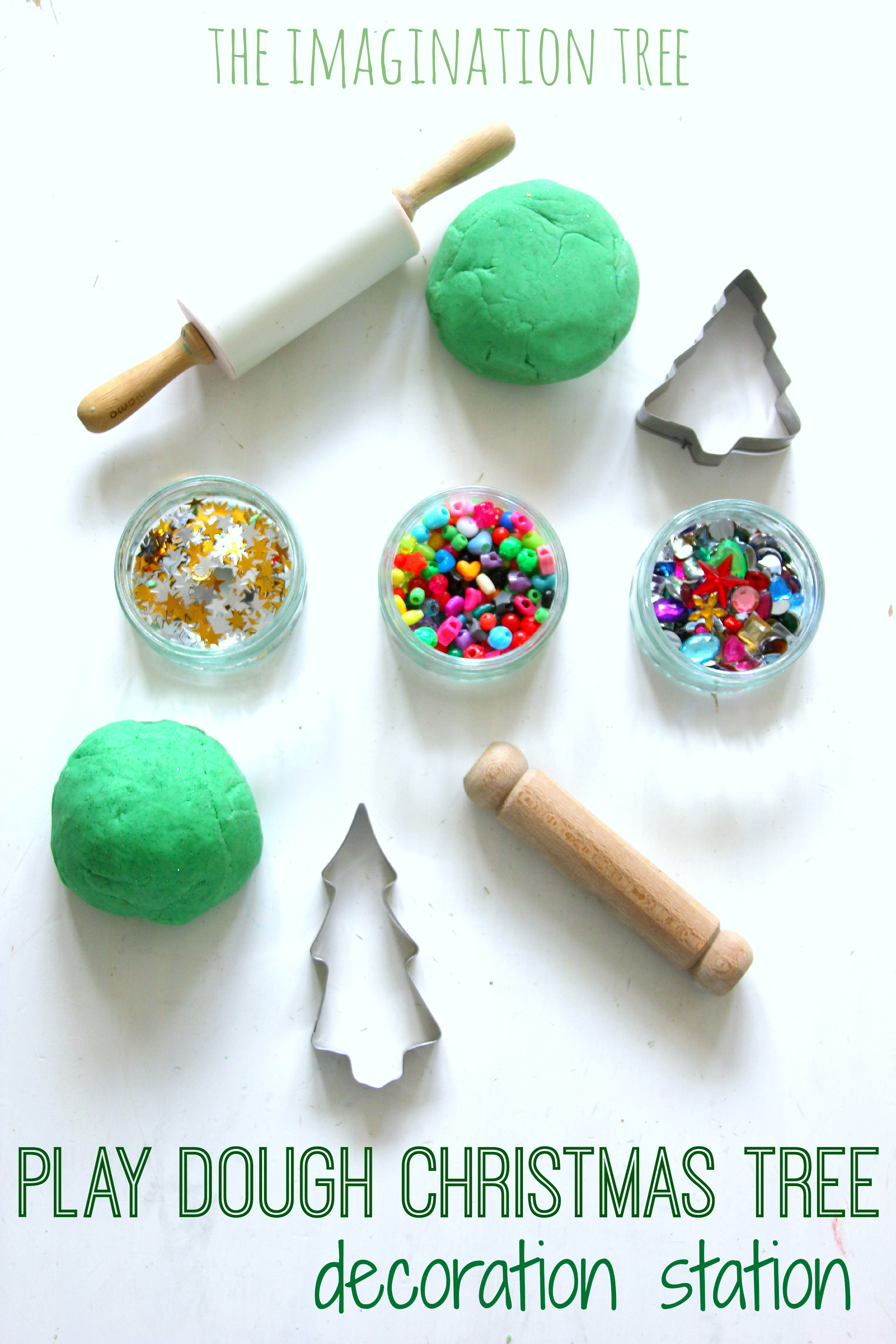 Invitation to Decorate Play Dough Christmas Trees - The Imagination Tree