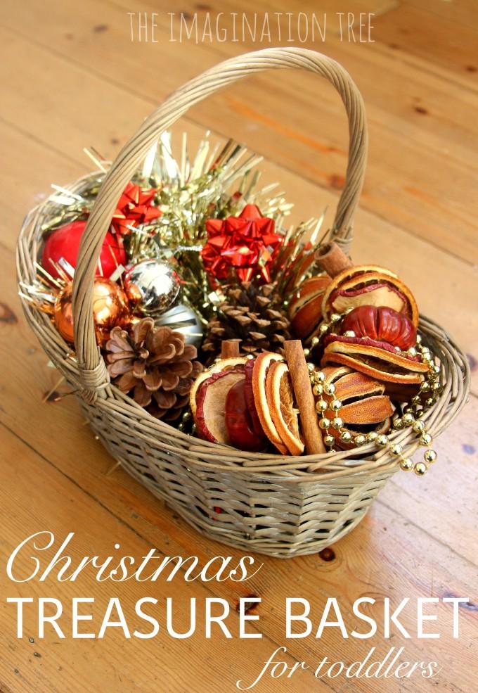 Christmas sensory treasure basket for toddlers