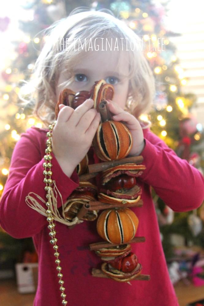 Christmas sensory treasure basket play