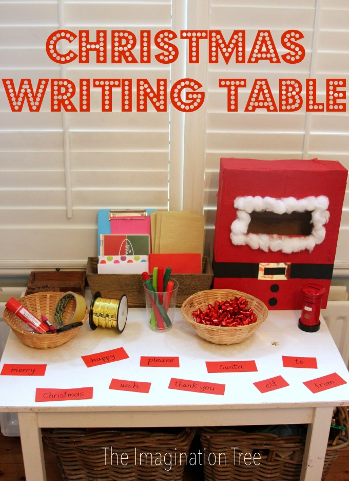 Christmas themed writing table for kids