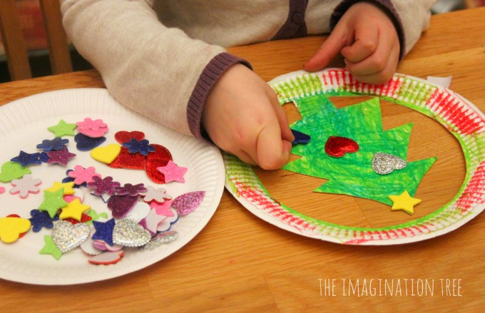Decorated paper plate christmas tree hats