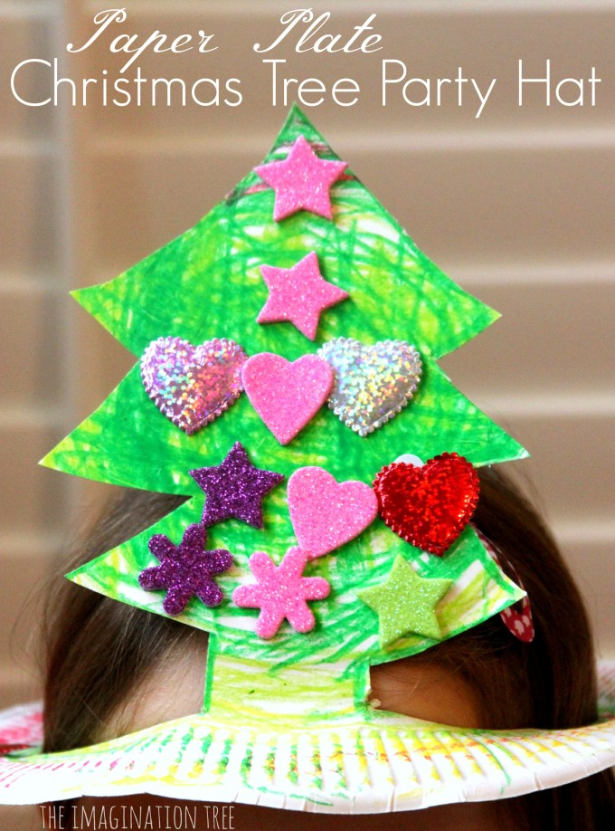 Paper plate Christmas tree party hat
