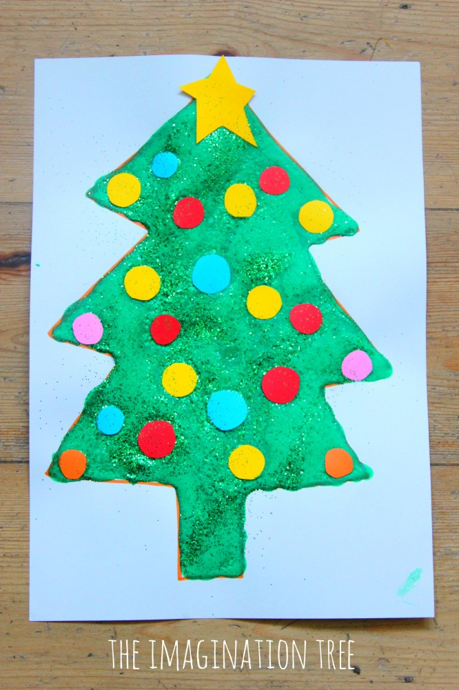 Peppermint puffy paint christmas tree craft