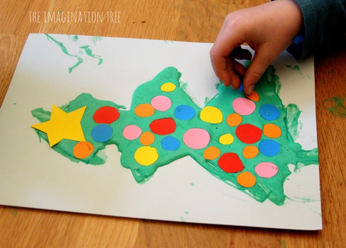 Peppermint puffy paint recipe christmas tree craft