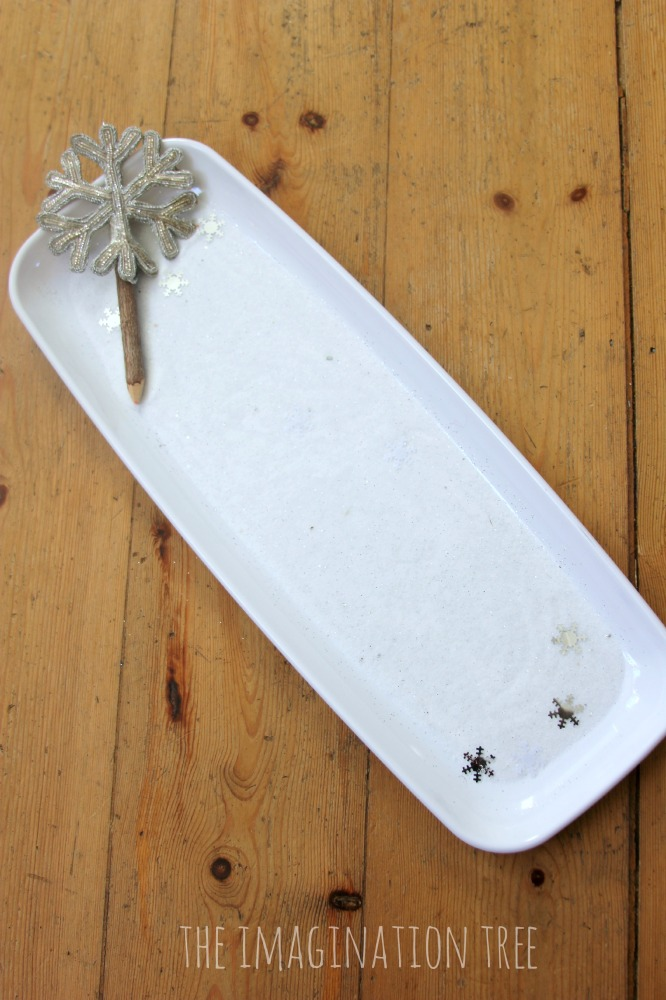 Sensory snow writing tray