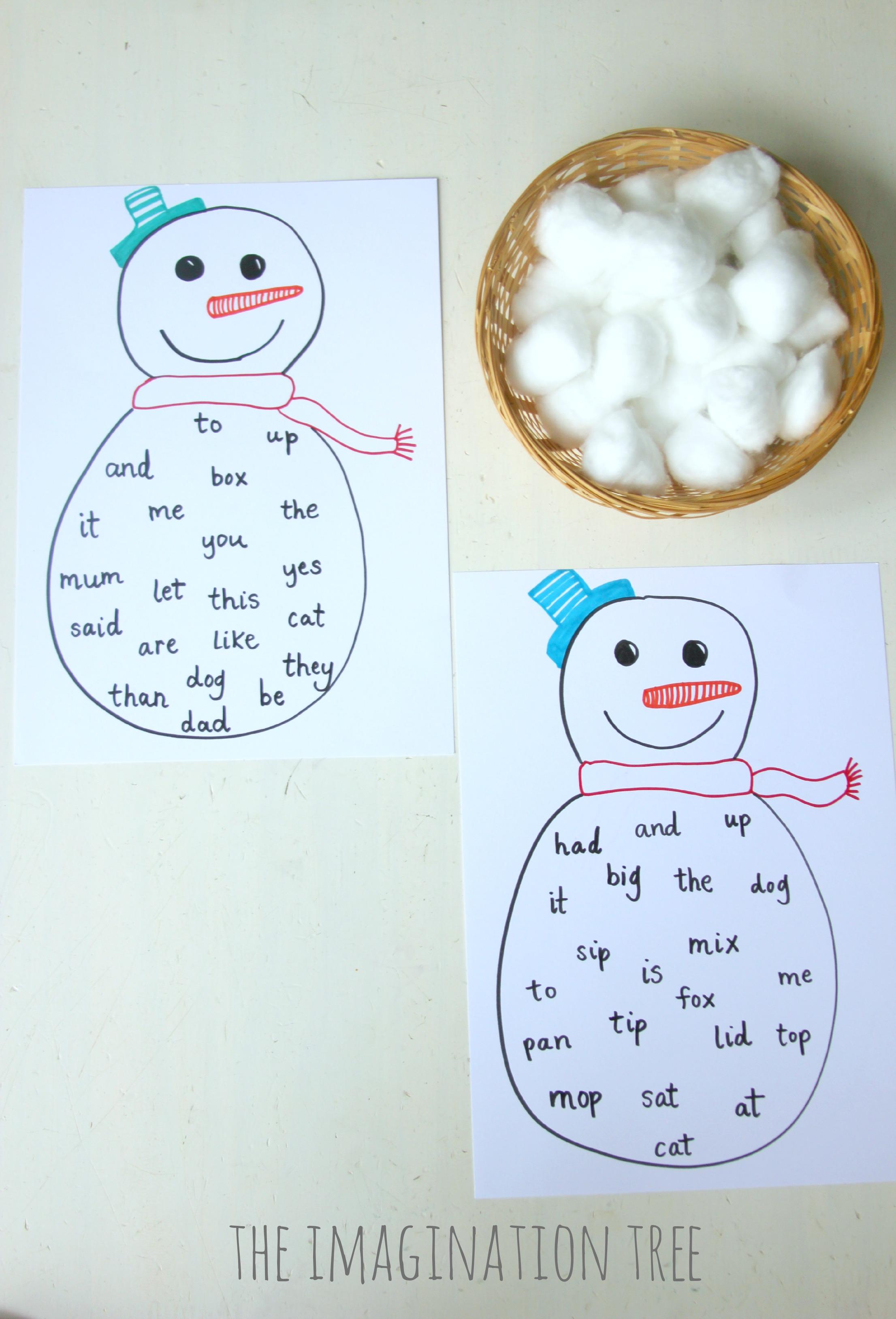 Snowman sight word bingo craft the imagination tree